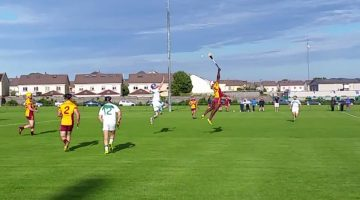 Peadar Carton contests a high ball